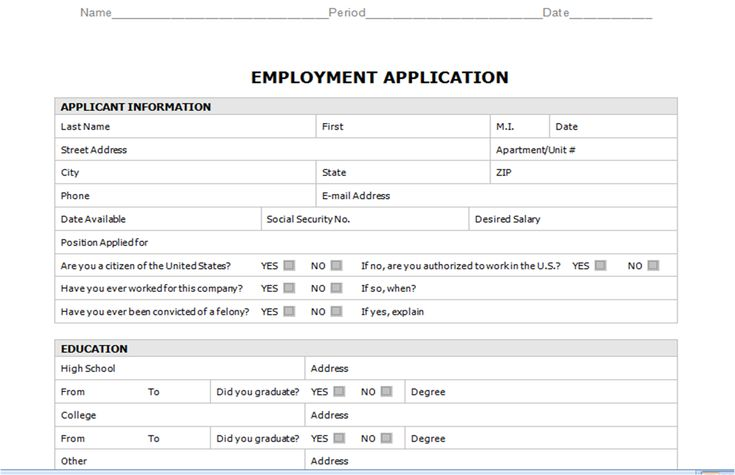 Free Employment Application Templates Employment