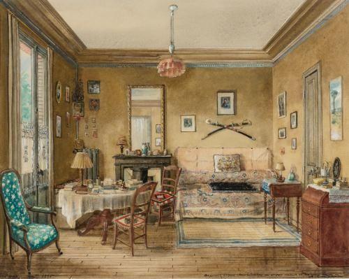 The Apartment of Sophia Mikhailovna Dragomirova Lukomskaya. Watercolor by Alexandre Serebriakoff, 1945.