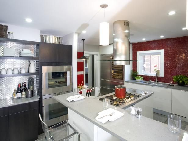 Note stainless steel and glass and other unusual finishes Contemporary Kitchens from Anthony Carrino on HGTV