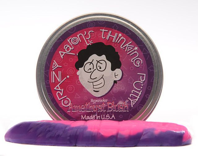 """Hypercolor Thinking Putty is thermochromic - just a touch from your hands or a warm coffee mug will reveal a new """"hot"""" color. Allow it to cool off or stick it in the fridge! Then the """"cool"""" color will"""