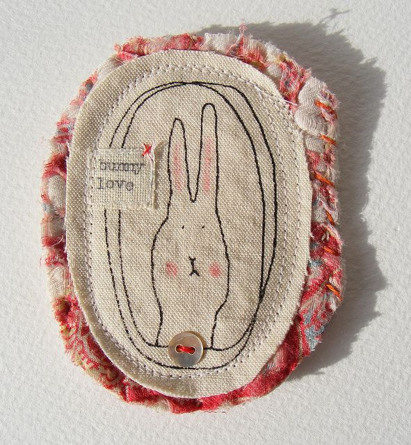 bunny love brooch by hens teeth, via Flickr