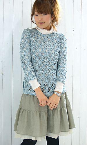 LOVE  Ravelry: 28-27 Saratto Cotton Sweater pattern by Pierrot (Gosyo Co., Ltd)
