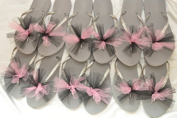 great idea! Custom WEDDING Flip Flops BRIDESMAID Flip by BrooklynsBowsNToes, $20.00