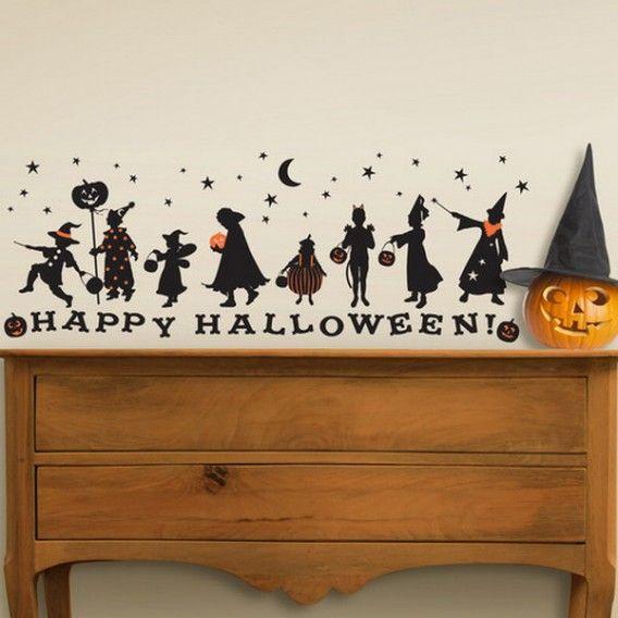 happy halloween decals decoration creative ideas for halloween murals designer - Halloween Wall Mural
