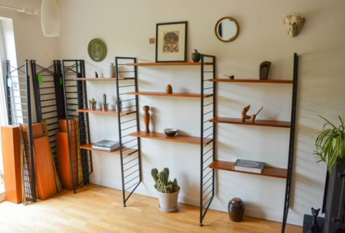 Vintage Mid Century Teak Ladderax Shelving Bookcase Display Unit 1960s 4th Set