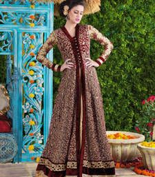 Buy Maroon net and velvet embroidered semi stitiched salwar with dupatta party-wear-salwar-kameez online