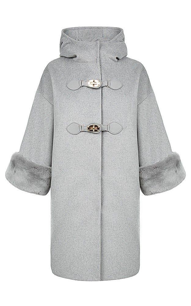 полушерстяное пальто с декором из меха кролика