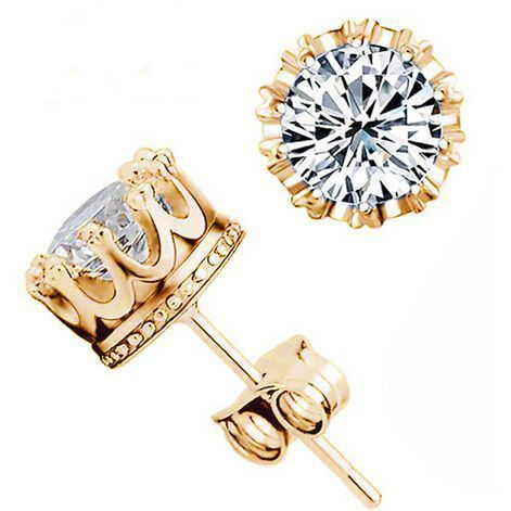 Crown Styled CZ Stud Earrings
