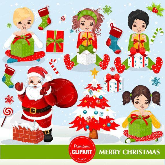 Mañana de Navidad clipart prediseñadas de Navidad por la mañana, imágenes prediseñadas de árbol de Navidad, scrapbooking Navidad, uso comercial - CA262