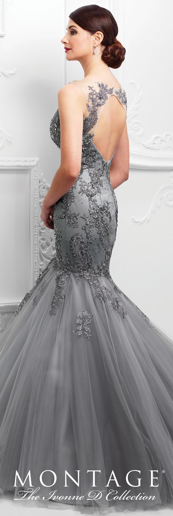 Formal Evening Gowns by Mon Cheri - Spring 2017 - Style No. 117D74 - gray sleeveless metallic lace and tulle mermaid evening dress
