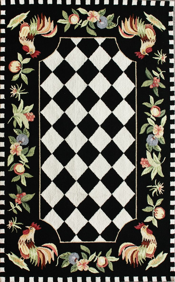 Wonderful Checkered Rooster Area Rug   Black, Hand Hooked