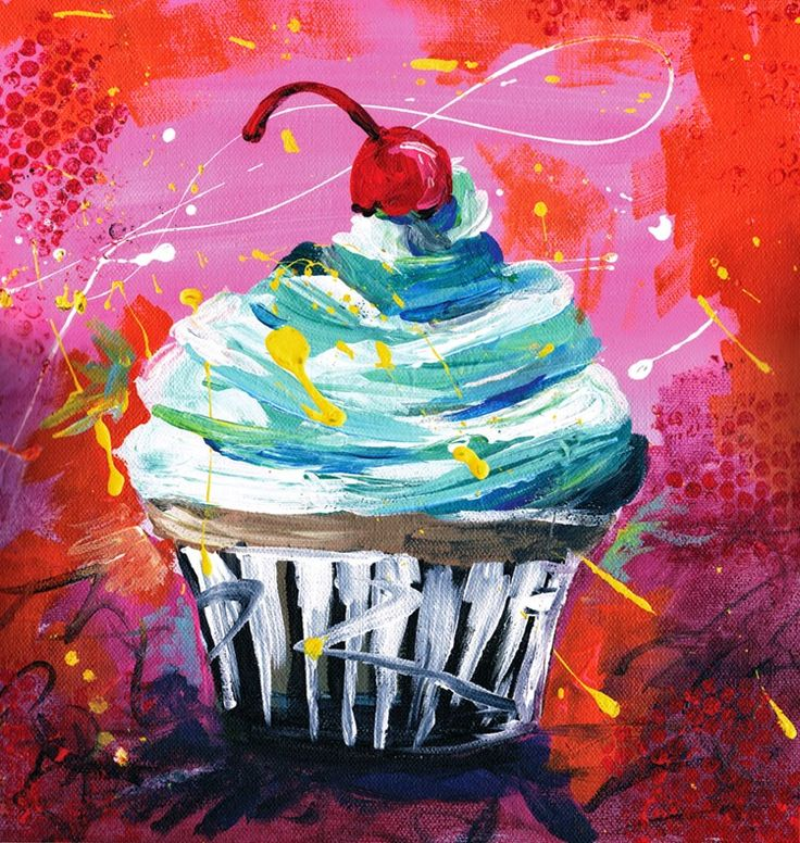 Cupcake painting, acrylics on canvas by the Domina