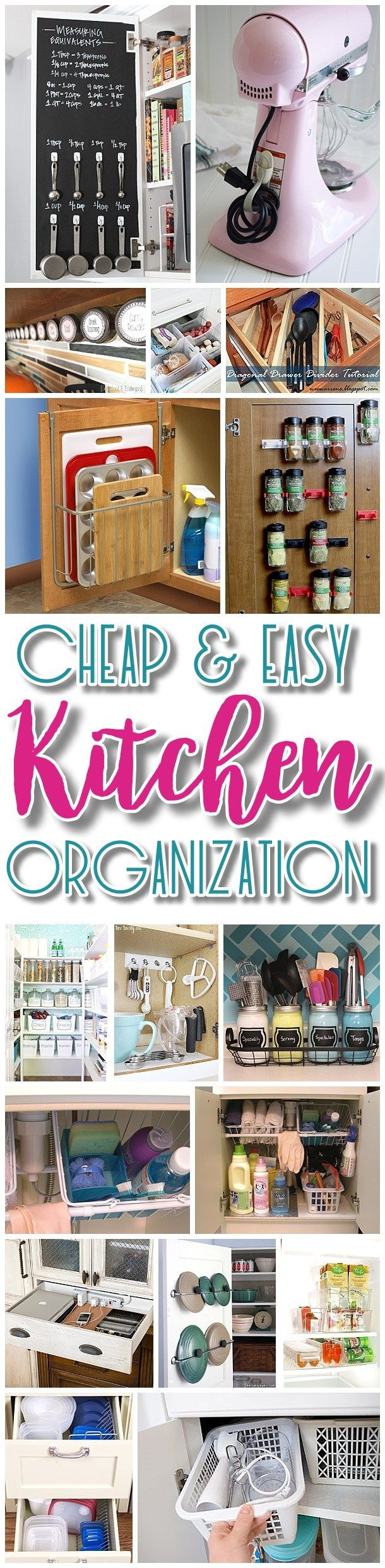 Ideas for kitchen organization - Easy Budget Friendly Ways To Organize Your Kitchen Quick Tips Space Saving Tricks Clever Hacks Organizing Ideas