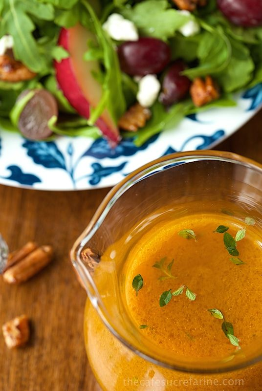 Pumpkin Maple Vinaigrette - An amazingly delicious, vibrantly-hued dressing that pairs well with so many ingredients. It's also spectacular in a simple salad of fresh greens.