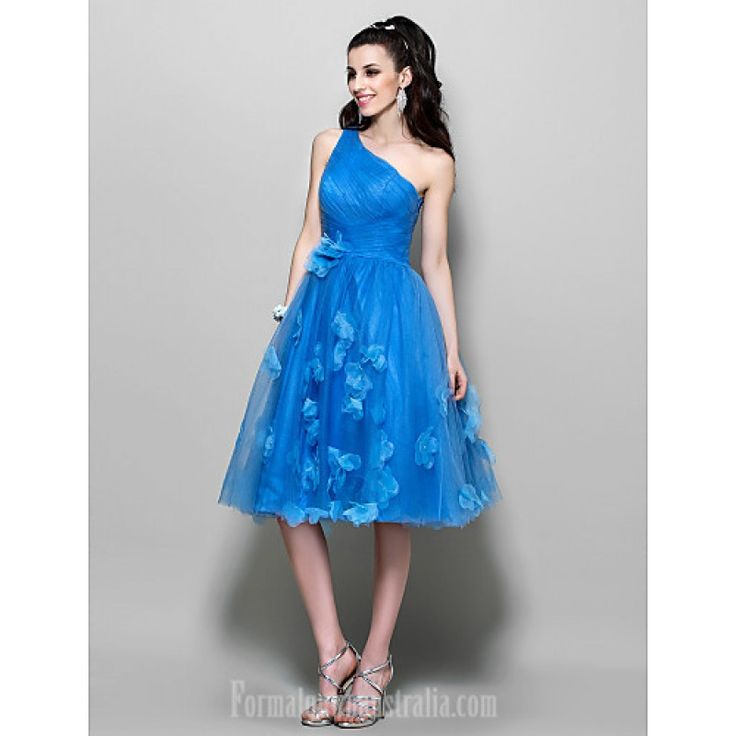 Australia Cocktail Party Dresses Prom Dress Ocean Blue Plus Sizes Dresses Petite A-line Sexy One Shoulder Short Knee-length Tulle Formal Dress Australia #blueformaldress   #bluedress   #formaldressaustralia