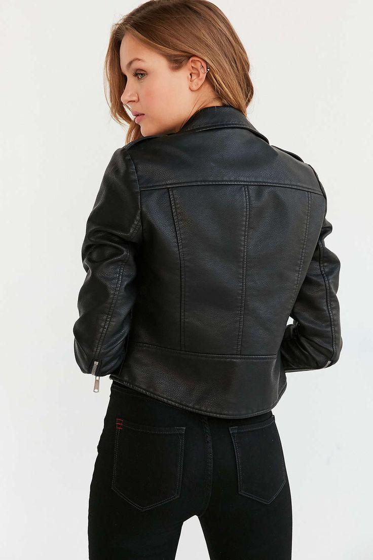 Blouson de moto rétréci en similicuir Sparkle & Fade - Urban Outfitters