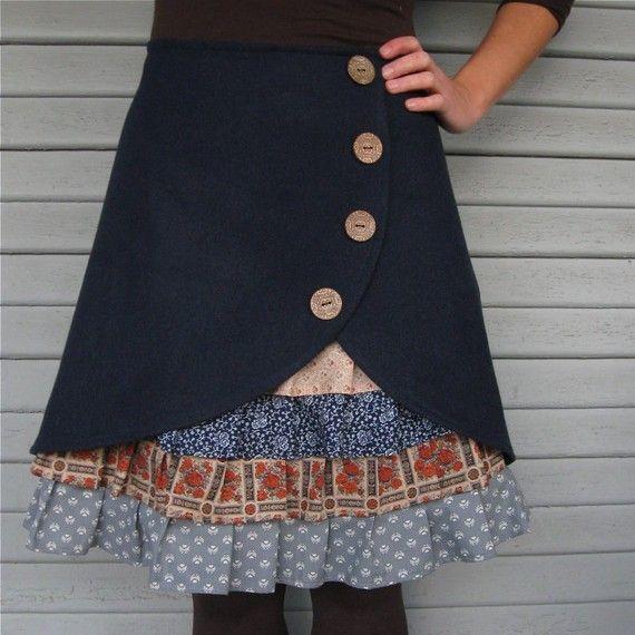 Blue Monday ruffle front skirt
