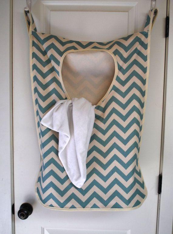 Laundry Bag Hamper HangingBlue Chevron Fabric by RedCheckMarket, $44.00