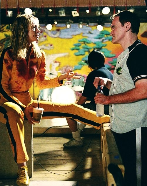 Uma Thurman and Quentin Tarantino on the set of Kill Bill Vol. 1