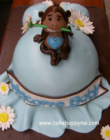 17 best images about baby shower cakes on pinterest themed baby showers woodland creatures - Baby shower cakes monkey theme ...