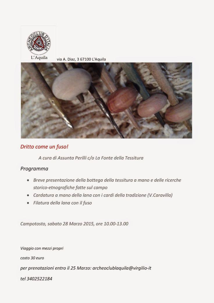 Tessitura a mano di assunta perilli: Corso di filatura a fuso. Campotosto (AQ)