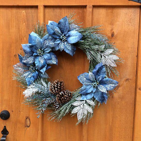 Blue Poinsettia Wreath 28 Inch Pine Wreath Door Decor
