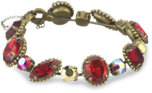 """Sorrelli """"Ruby Cocktail"""" Decorative Red and Gold Cut Crystal Line Bracelet Sorrelli. $128.00. Items that are handmade may vary in size, shape and color. Made in China. Antique gold tone metal"""