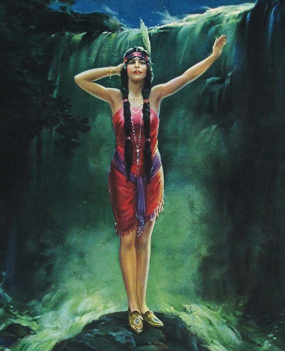 ***Tão minha Jandira...*** ART DECO PIN UP POSTER INDIAN MAIDEN SONG OF THE WATERFALL