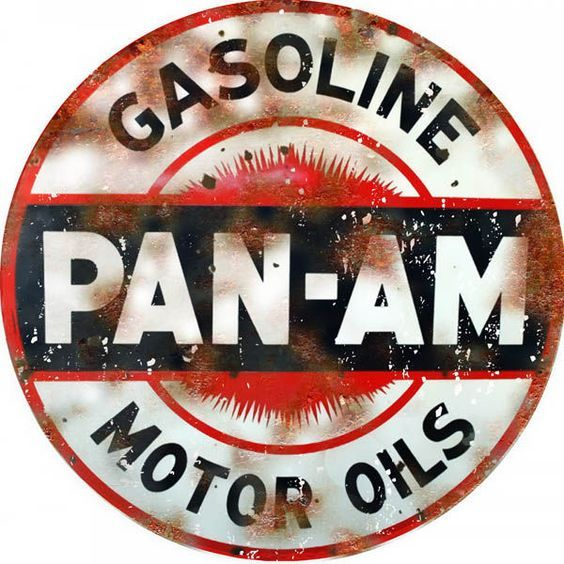 "Pan-Am Gasoline Motor Oil Sign, 14"" Aluminum Metal Sign, USA Made Vintage Style Retro Garage Art by HomeDecorGarageArt on Etsy"