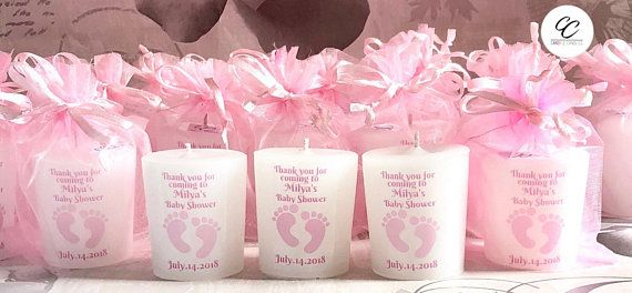 BLUE PINK WHITE GORGEOUS CUTE BABY SHOWER CANDLE FAVOURS WITH SCENTED CANDLES