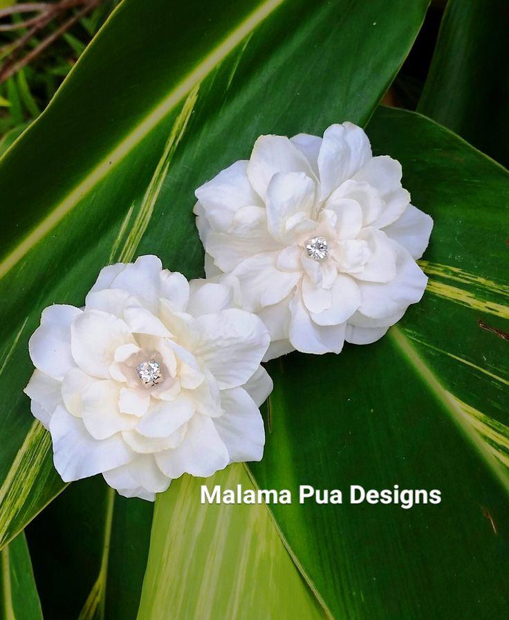 BRIDAL HAIR FLOWERS - Pair of Hawaiian Delphiniums, Beach, Bridesmaid, silk hair flower, Headpiece, Crystal Center, Hair accessory, hair pin by MalamaPua on Etsy