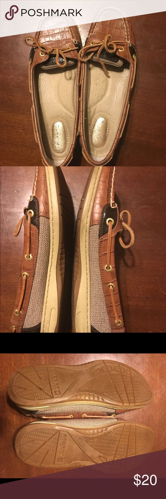 Women's Sperrys. Sperry Angelfish topsiders. Women's. Size 9.5. Brown/tan. Sperry Top-Sider Shoes Flats & Loafers