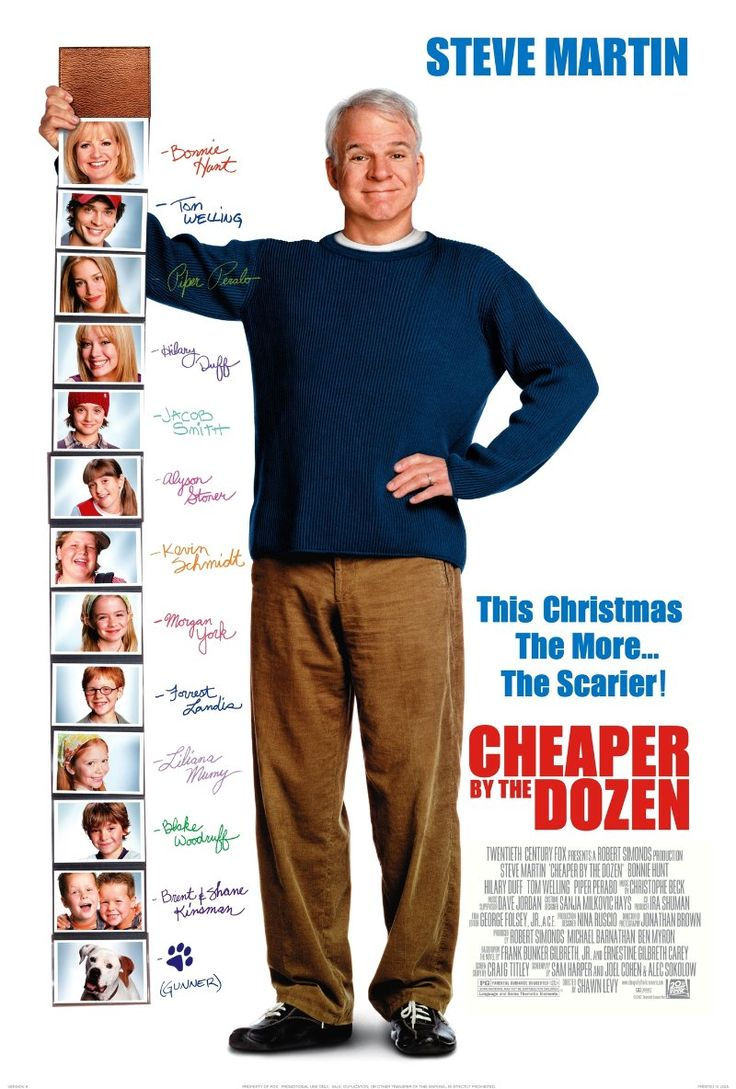 Cheaper by the Dozen (2003) starring Steve Martin, Bonnie Hunt. Watched April 2013, dvd.