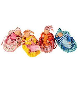 Kathe Kruse Soft Velour Cradle-Carrier for Nicki Baby Doll, in Fiery Red by Kathe Kruse® Puppen GMBH. $12.95. Handmade in Germany. A cozy place for sweet dreams. For ages 9 months and up. Solid color reverses to stripes. Perfectly sized for 8 inch doll