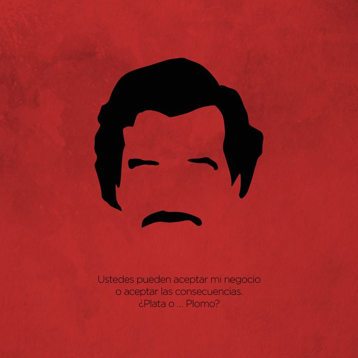 Narcos serie minimalist poster and quote, with Pablo Escobar.