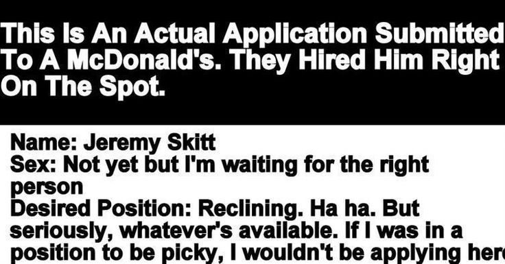Guy Was Hired On The Spot After Submitting Hilarious McDonald's Application
