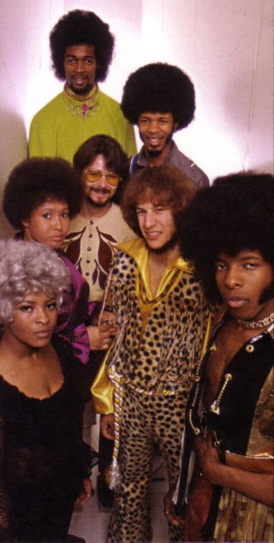 Sly and the Family Stone in 1969 --  Clockwise from top: Larry Graham, Freddie Stone, Greg Errico, Sly Stone, Rose Stone, Cynthia Robinson, and Jerry Martini.