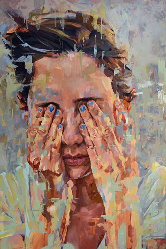 """Blue Nails"" - Andres Kal, oil on panel, 2013 {contemporary figurative artist female head hands covering eyes woman face portrait textured painting} #StudioKal"