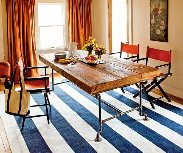 The three Douglas fir beams used here were rescued from a dumpster. Their massive size—about 6½ feet long by 15 inches wide—made them ideal for a communal dining table like the ones at trendy farm-to-table restaurants. Photo: Kristine Larsen | thisoldhouse.com | from 23 of Our Best Salvage-Style Projects