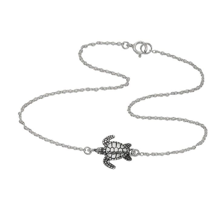 Sterling Silver 9.5' Sea Turtle Anklet >>> Details can be found by clicking on the image.
