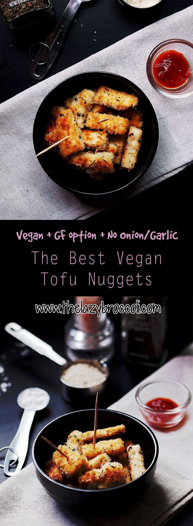 This vegan, no onion no garlic tofu nuggets is incredibly easy plus it is so addictive! It's the perfect snack for lazy people and it's so good, even not vegans will love it! For gluten-free version, just get gluten-free panko and voila!