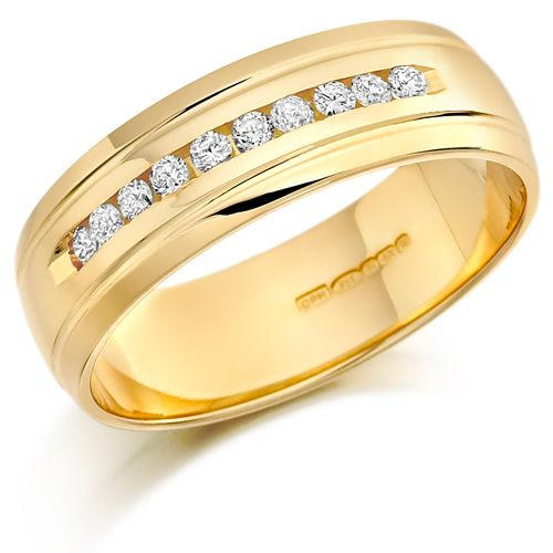 House of Williams 18ct Yellow Gold Gents 7mm Wedding Ring with 10 Channel Set Diamonds and Grooved Edges Set with 0.30ct of Diamonds £1,303 http://www.howweddingrings.co.uk/Products/8832-house-of-williams-18ct-yellow-gold-gents-7mm-wedding-ring-with-10-channel-set-diamonds-and-grooved-edges-set-with-030ct-of-diamonds.aspx #weddingrings