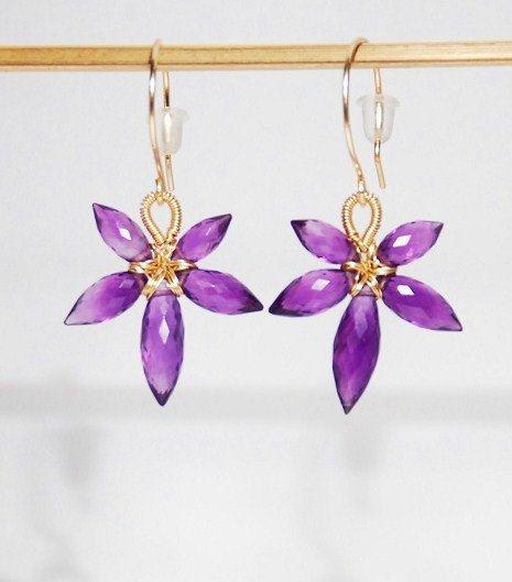 Gemstone flower earrings, February gemstone, birthstone earrings, Grade AA amethyst flower 14K gold filled  - five petals small flower by JWjewelrybox on Etsy