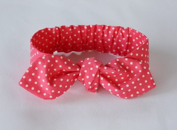 Baby girl headbandcoral baby bow headband baby by ElleBelleBliss