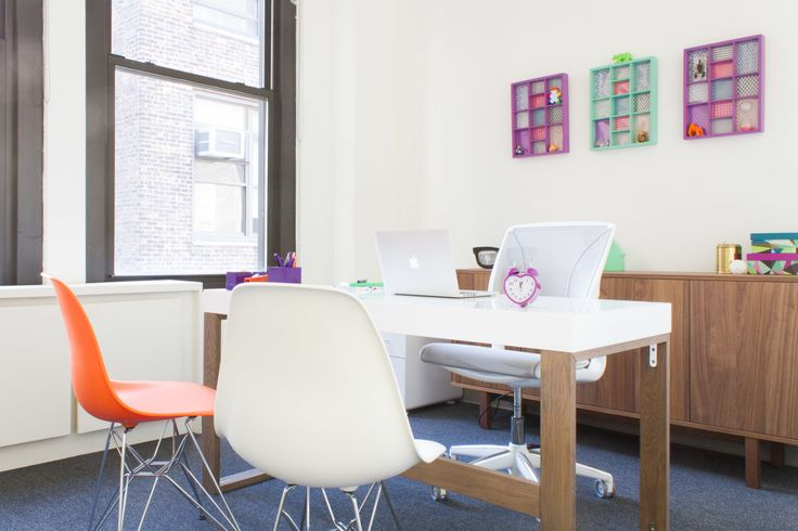 1200 square feet of blank space was transformed into a colorful, kid-friendly and super-organized office space for NY Kid's Club HQ. The resource center for children and their parents needed an office and training space that mimicked their kid's clubs but adapted to the needs of their (adult) employees. Tour the gallery for our designer Chloe's explanation of branding in the workplace.