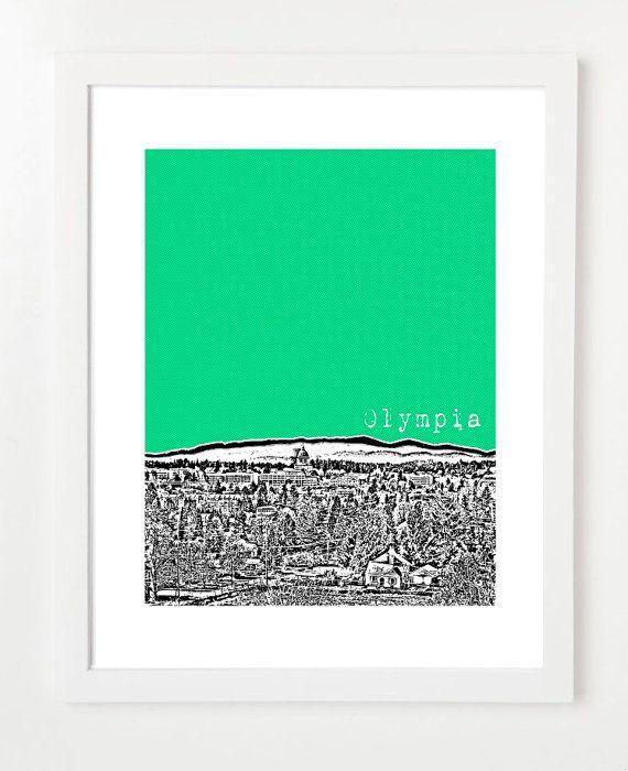Olympia Skyline Poster - Washington State City Art Print 8x10. $20.00, via Etsy.