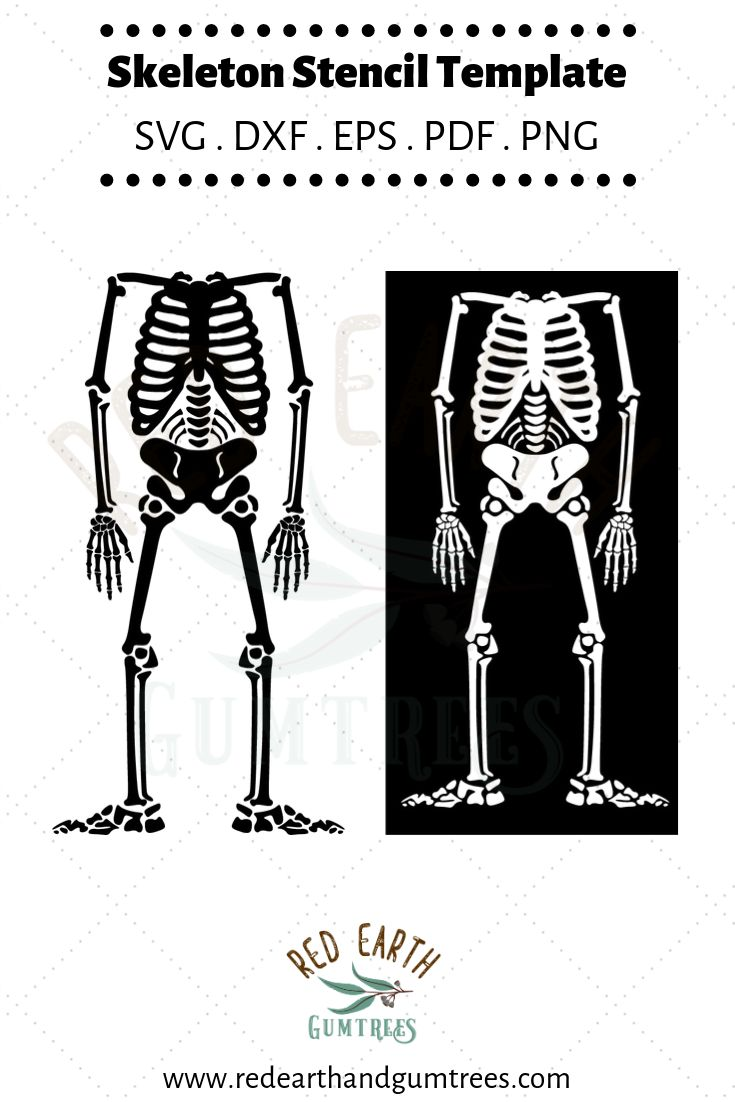 Skeleton bones, Skeleton stencil template, Halloween