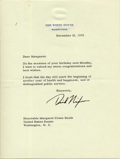 9 best ideas about Senator Margaret Chase Smiths Birthday on – Birthday Card from the President