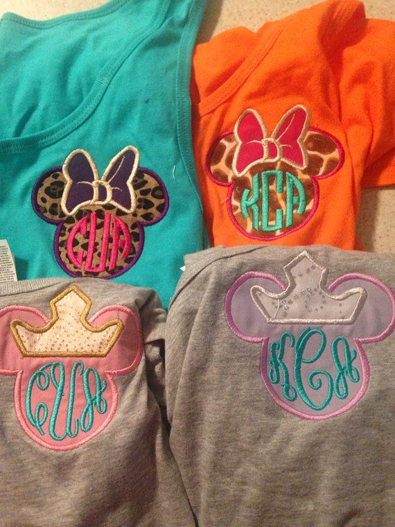 For walking around the park during race weekend. Monogram Disney Applique Tank Top with Minnie by UrbanSouthDesigns