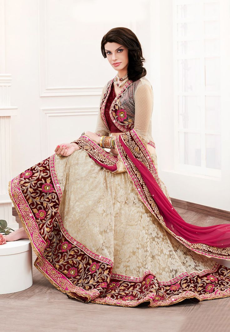 Light Beige Net Jacquard and Satin Lehenga Choli with Dupatta Online Shopping: LXW35